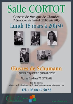 Affiche concert 18 mars 2013, Salle Cortot